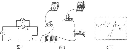 如图1所示是测定小灯泡的电功率实验的电路图,图2是即将连接完成的实验电路,其中电源为三节新的干电池,灯泡的额定电压为3.8V,灯丝的电阻约为10,滑动变阻器标有10 1A字样. (1)对照电路图,用笔画线代替导犀将图2中为完成部分连接好. (2)当闭合电路的开关时,若出现以下不正常现 如图1所示是测定小灯泡的电功率实验的电路图,图2是即将连接完成的实验电路,其中电源为三节新的干电池,灯泡的额定电压为3.