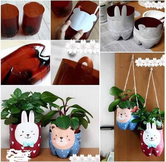 塑料瓶变兔子花盆
