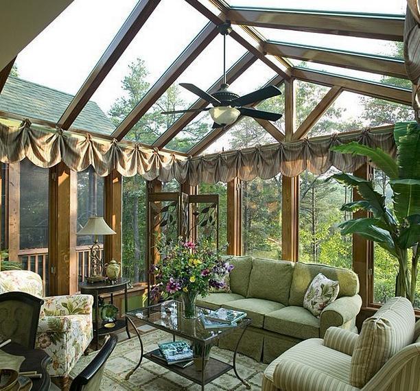 花园阳光房的样式有:四面无墙阳光房
