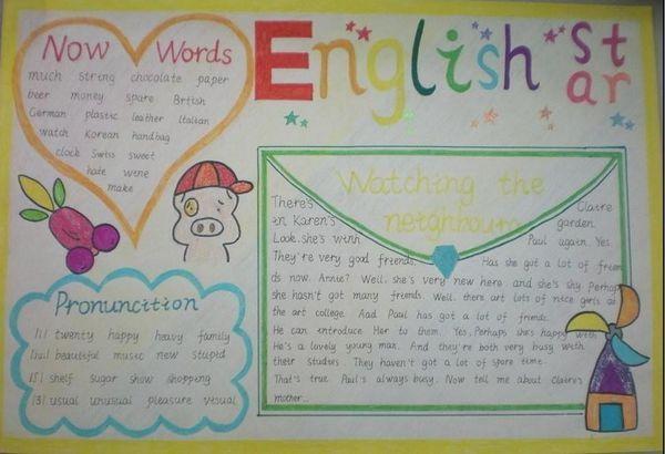 对于三年级的手抄报,文字部分可以为生单词,课文上的简单的对话或者图片