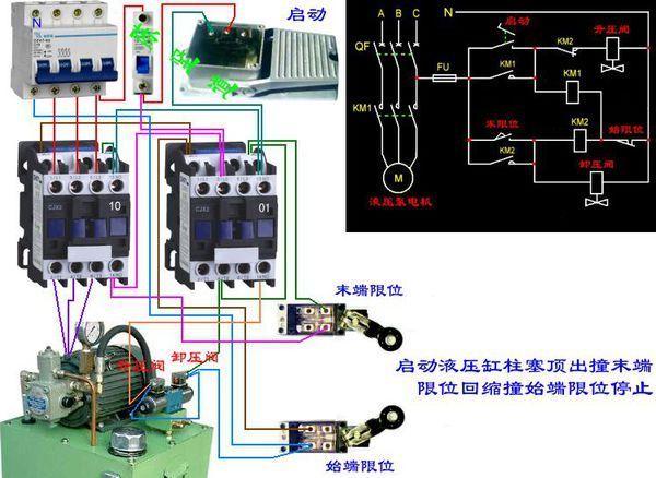 液压电磁阀和一个脚踏阀做一个前进后退停的电路液压