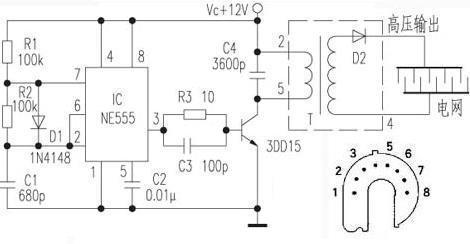 用一个黑白电视机的高压包把12伏的交流电升成高压电