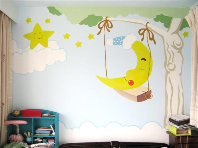 手绘墙画起源于壁画艺术,现在多用于现代家庭装修.